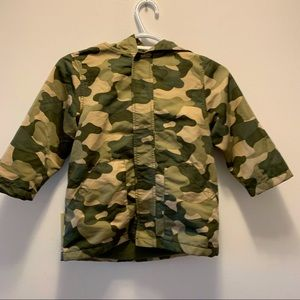 Gymboree Boys Camo Fall Spring Velcro Strip Closure Hooded Jacket size 3-4 years